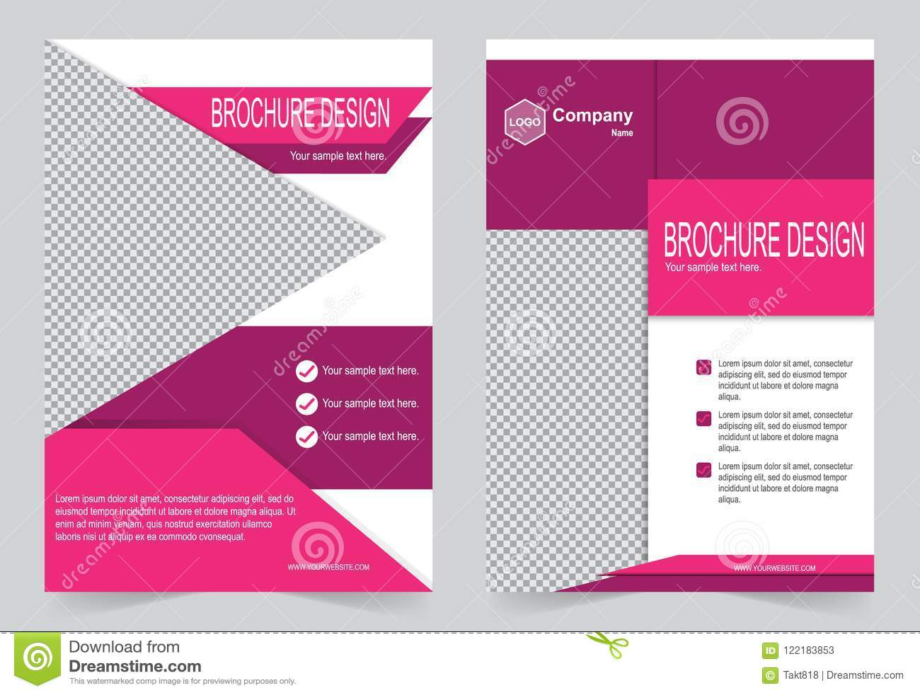 pink and purple brochure template flyer design stock vector
