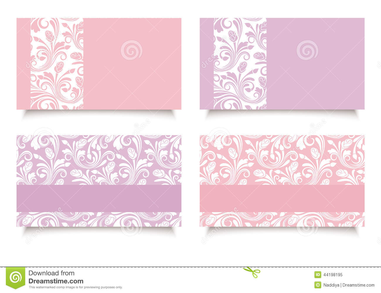 Pink And Purple Business Cards With Floral Patterns. Vector EPS-10 ...