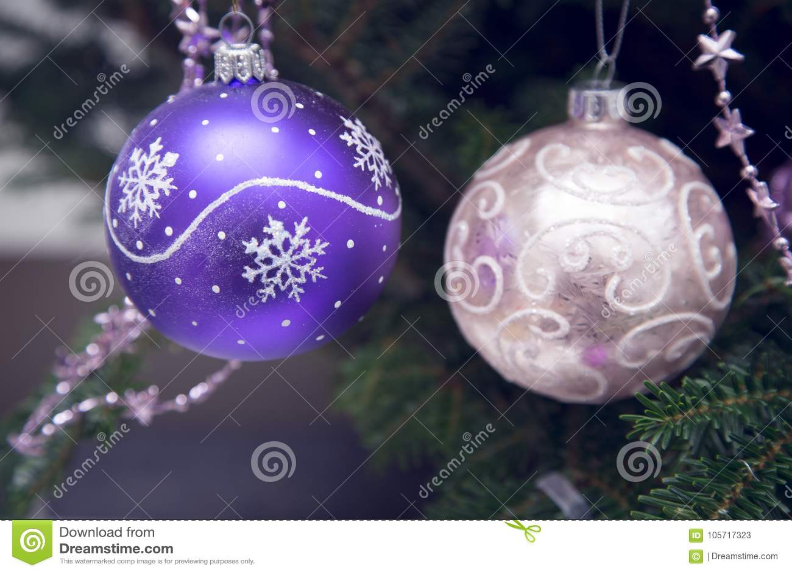 Pink And Purple Christmas Tree Balls Stock Image Image Of December Festive 105717323