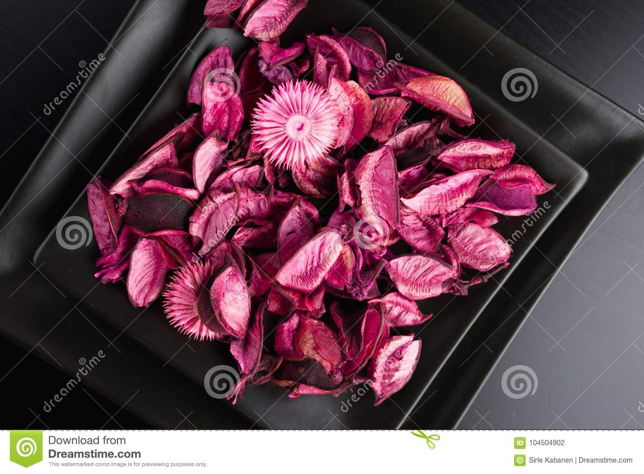 Pink Dried Flowers Petals Potpourri On Black Backrgound Stock Photo