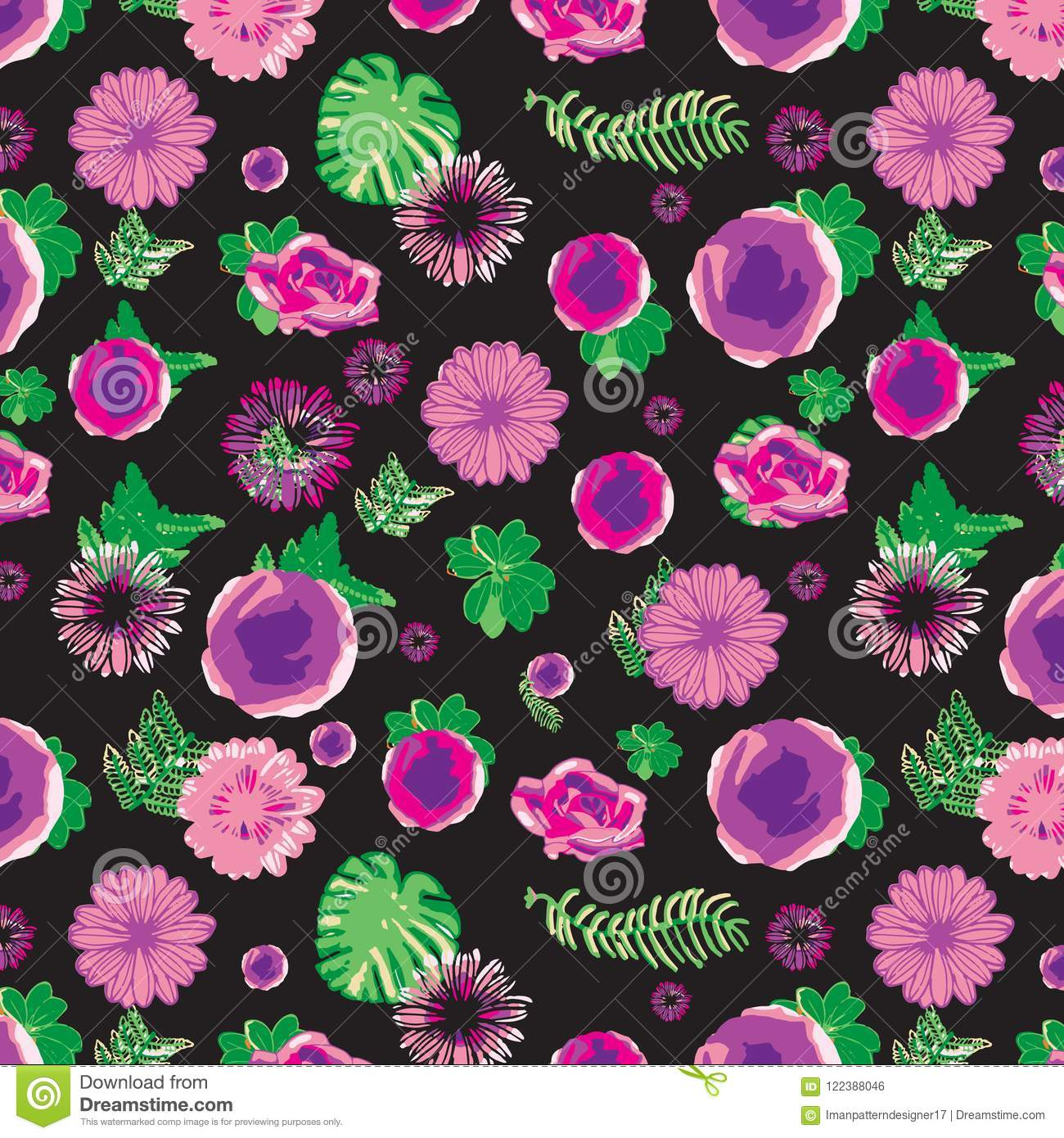 Pink And Purple Floral Pattern With Green Leaves Over Black Background