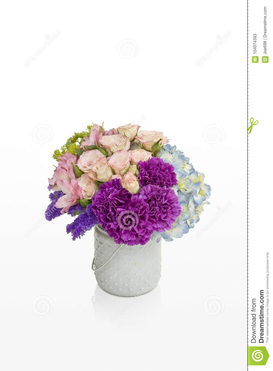 Pink and purple flower arrangement roses and hydrangea in a white pink and purple flower arrangement roses and hydrangea in a white vase designed for florist mightylinksfo