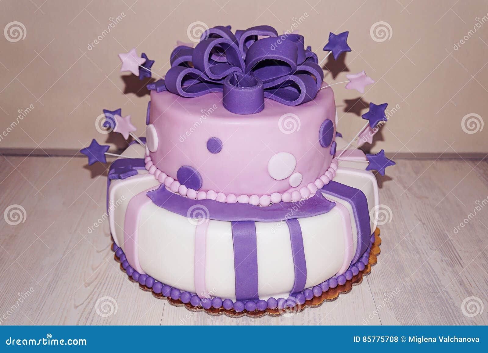 Fine Pink Purple Fondan Birthday Cake With Stars And Bow Stock Photo Personalised Birthday Cards Epsylily Jamesorg