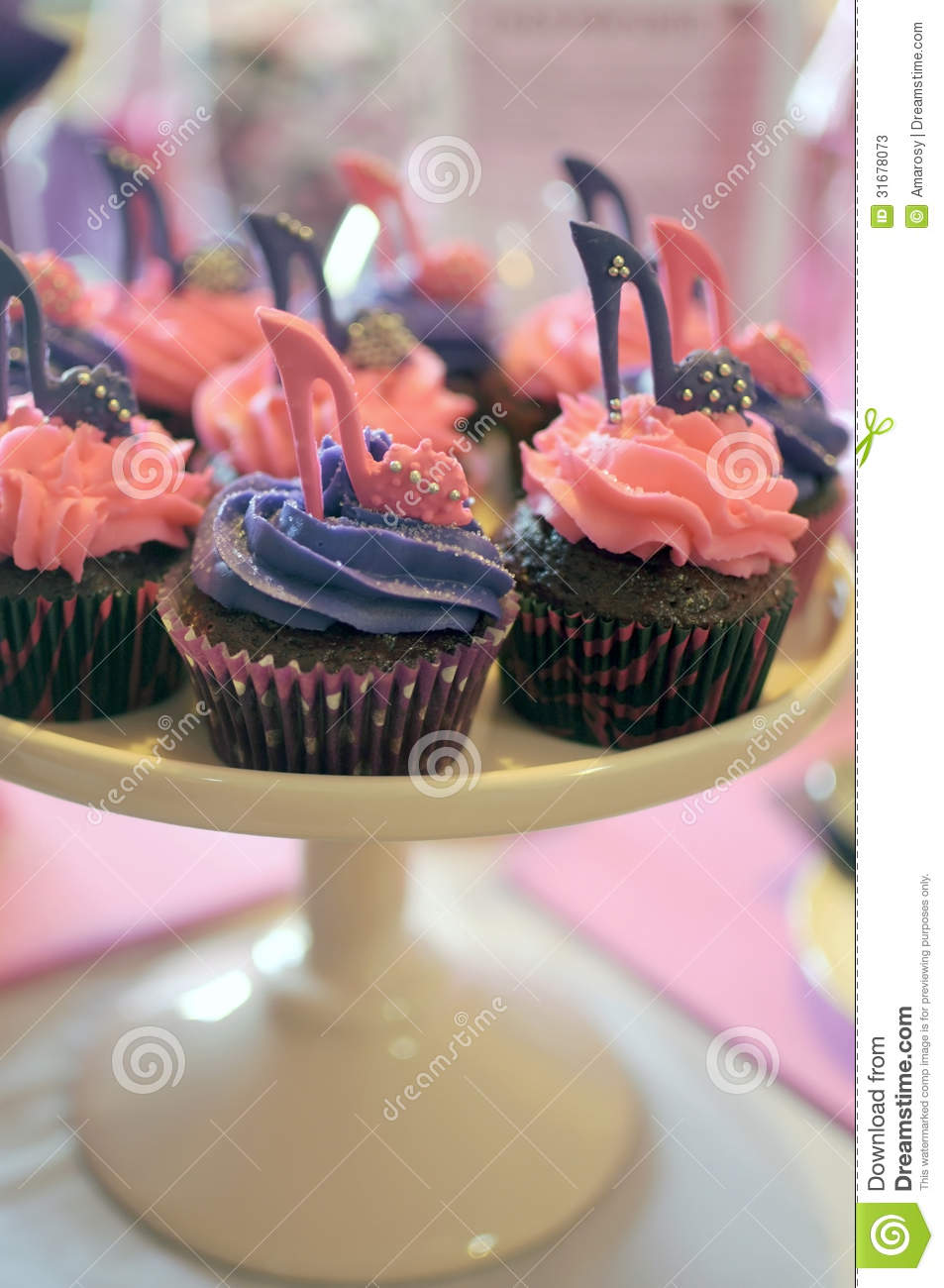 Pink And Purple High Heel Shoe Cupcakes Stock Photos