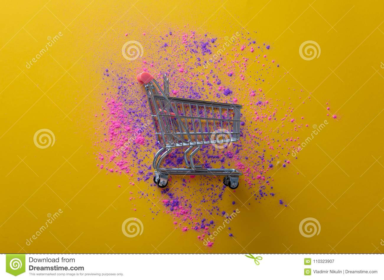 Pink And Purple Paint And Cart Stock Image Image Of Present