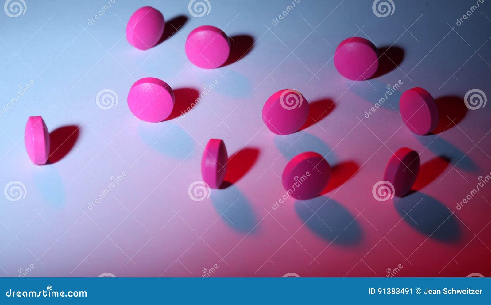 pink and purple pills stock image image of light pill 91383491