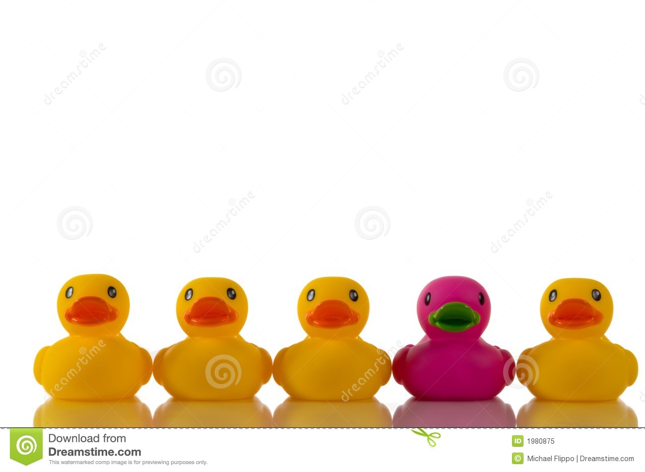 Pink Purple Rubber Duck With Yellow Ducks Royalty Free