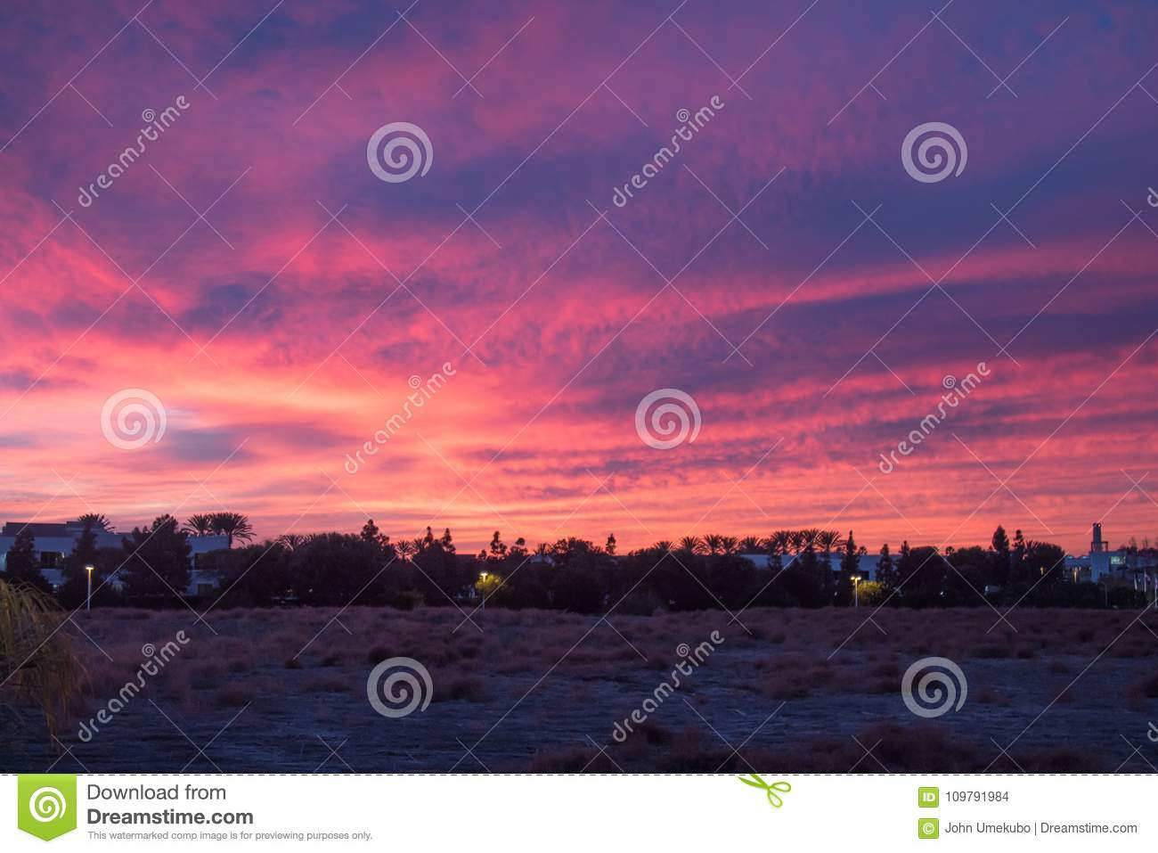Pink And Purple Sunset In Carlsbad Stock Photo Image Of Calm Peace 109791984