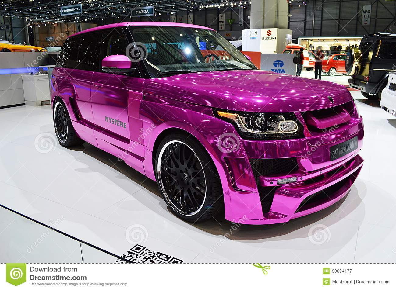 pink range rover geneva 2013 editorial photography image of range powerful 30694177. Black Bedroom Furniture Sets. Home Design Ideas