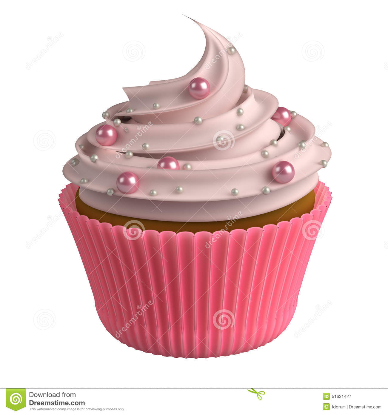 Pink Realistic Cupcake Isolated On White Background 3D ...