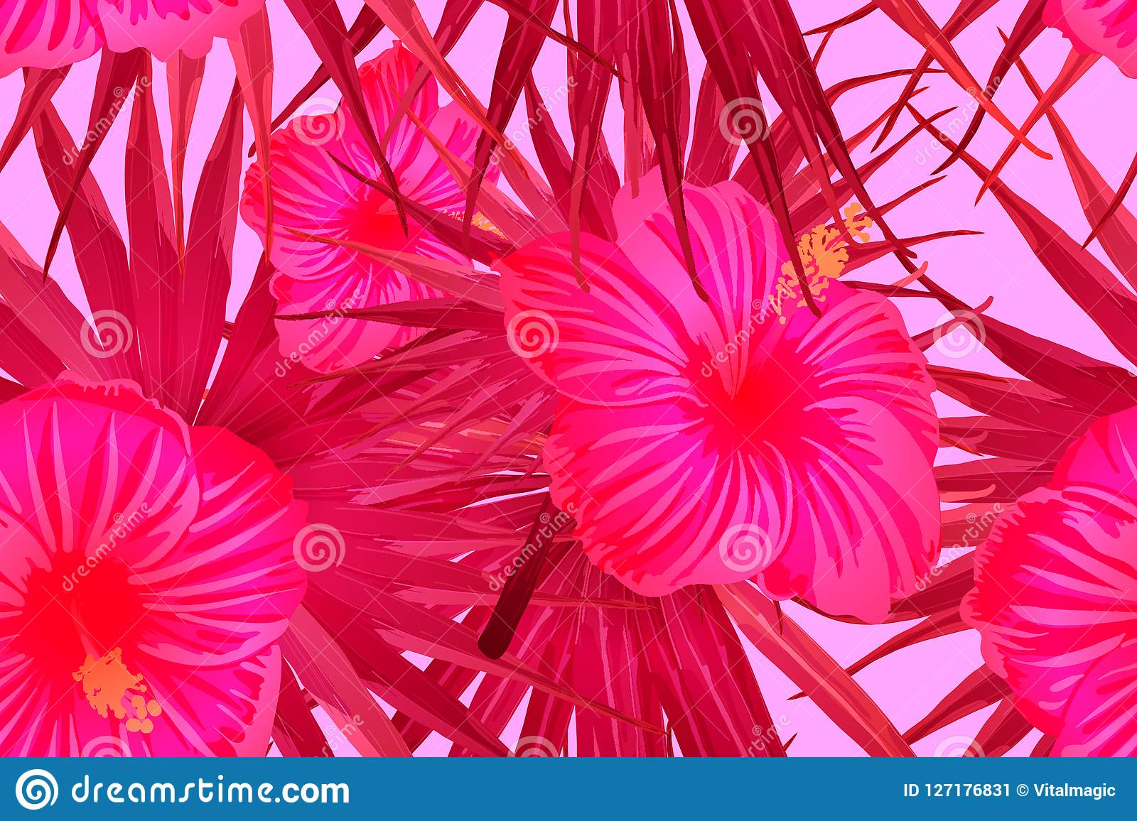 Pink Red Exotic Pattern Stock Vector Illustration Of Palm 127176831