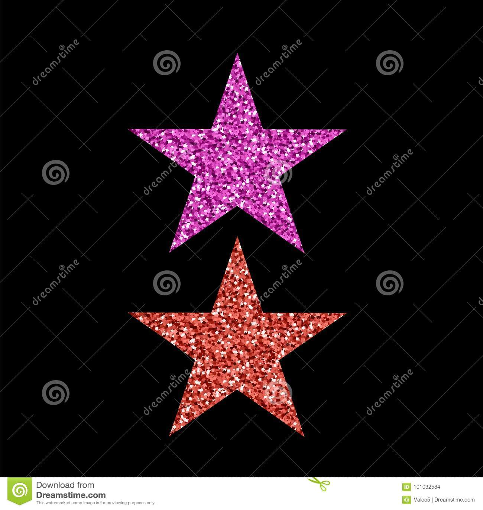 Pink Red Glitter Star