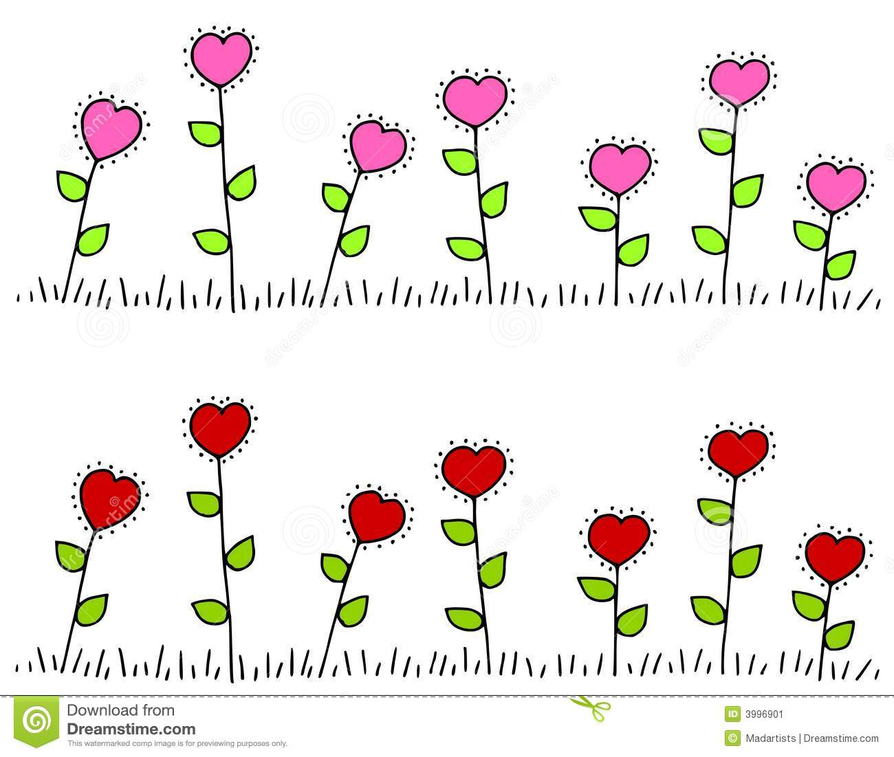 Pink red heart shaped flower borders stock illustration pink red heart shaped flower borders mightylinksfo