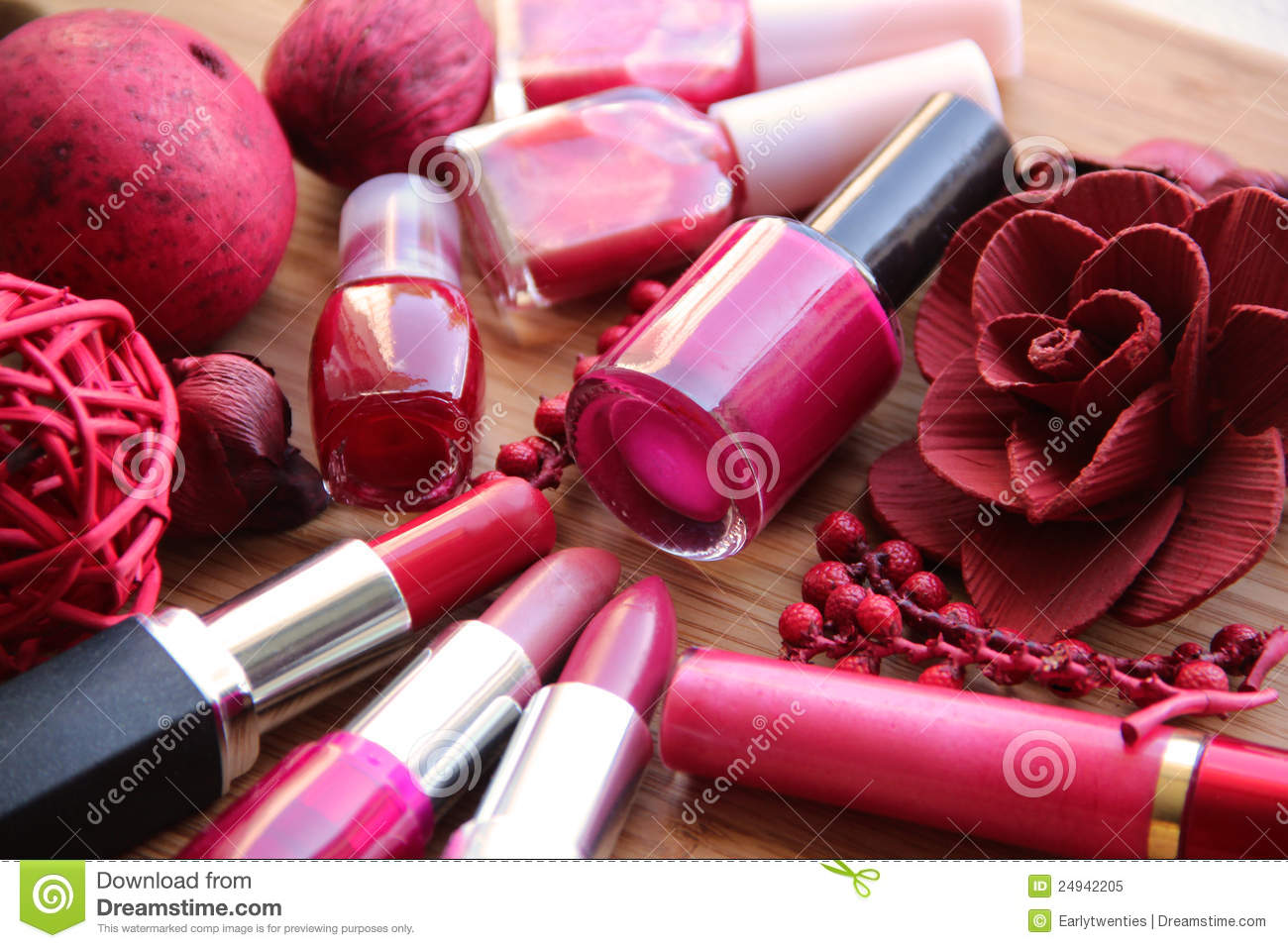Pink And Red Makeup Composition Royalty Free Stock Photo