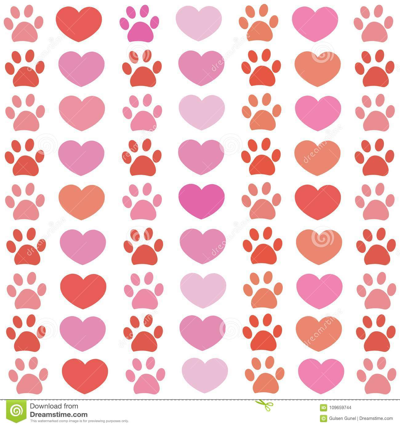 Pink And Red Paw Print With Hearts Pattern Happy Valentines Day