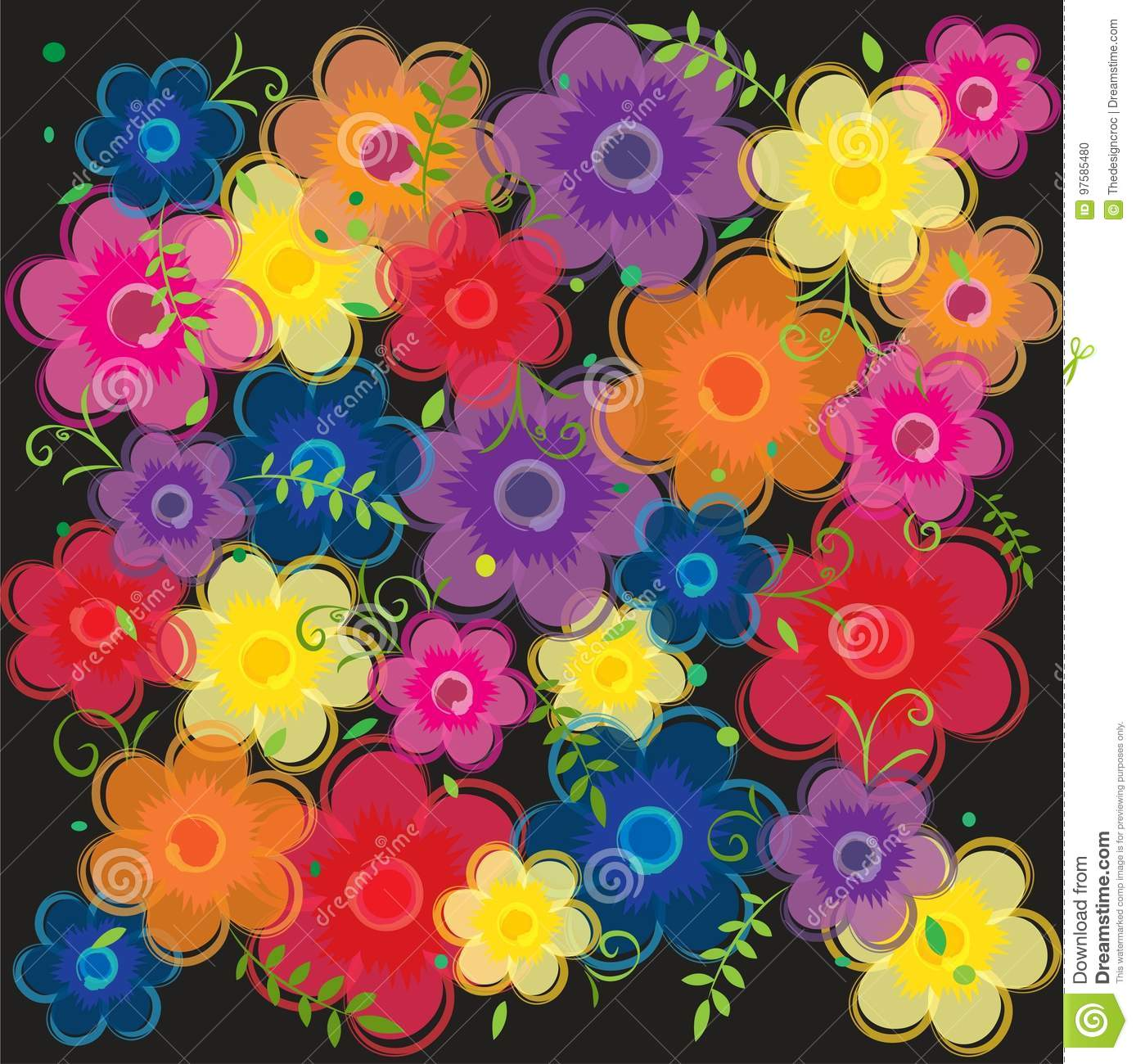 Pink Red Purple Orange Blue Yellow Floral Flowers Background
