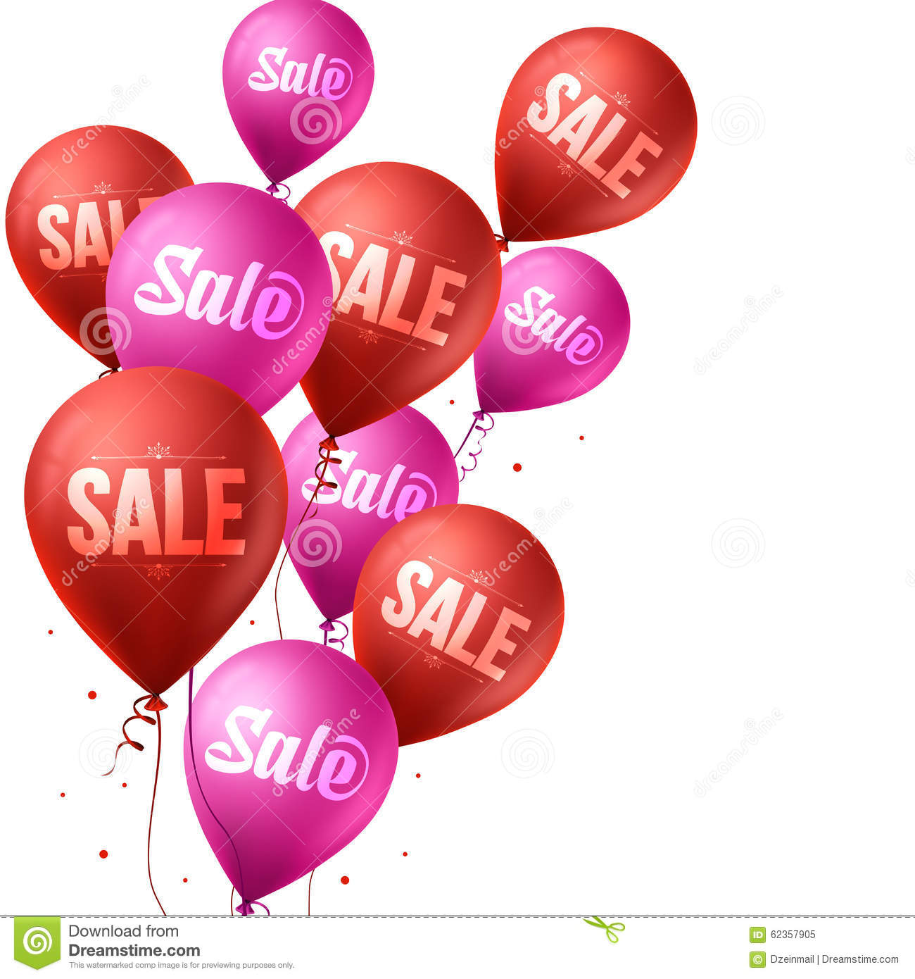 Pink and Red Sale Balloons Flying for Christmas and Winter
