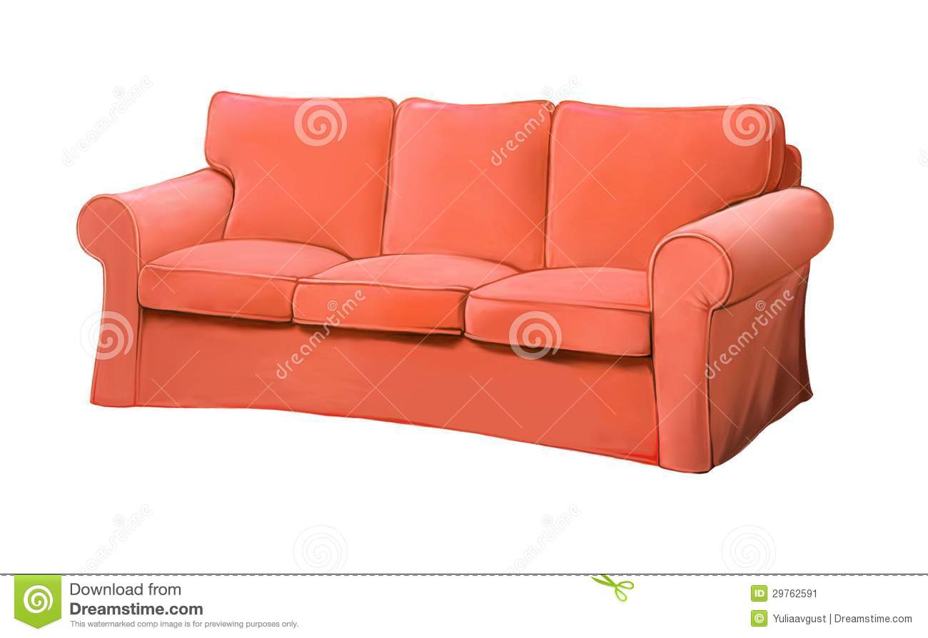 Couple room decoration - Pink Red Sofa Furniture Couch Isolated Realistic Illustration On