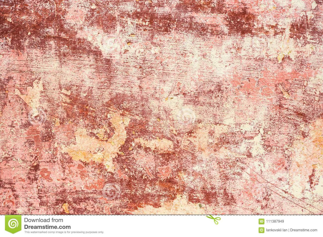 Pink red Textured Background Of Multi layer Flaking Paint On The