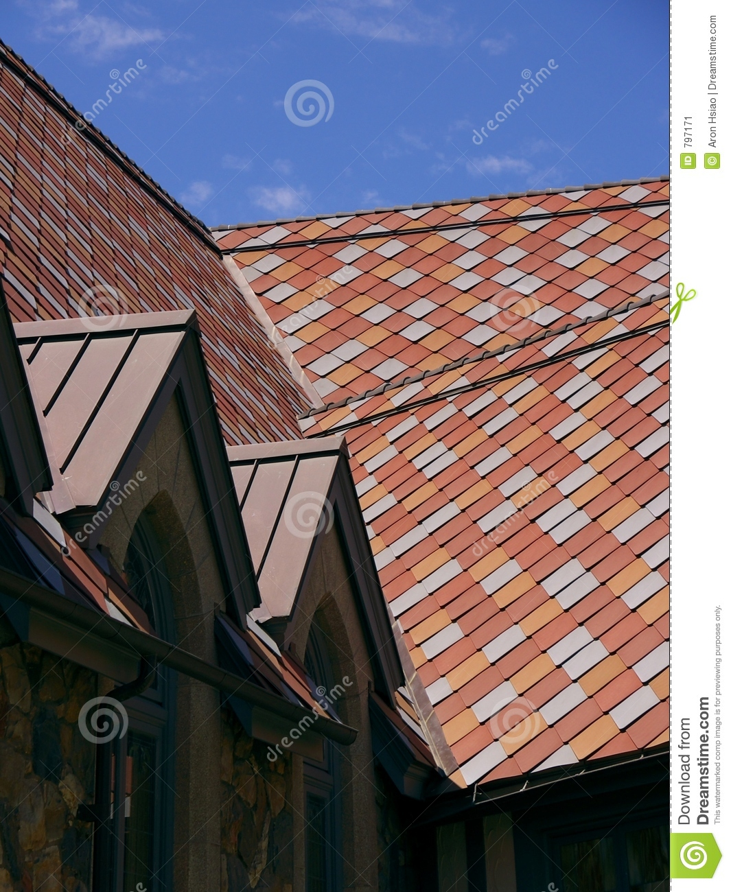 Pink And Red Tile Shingles On A Roof Stock Image Image
