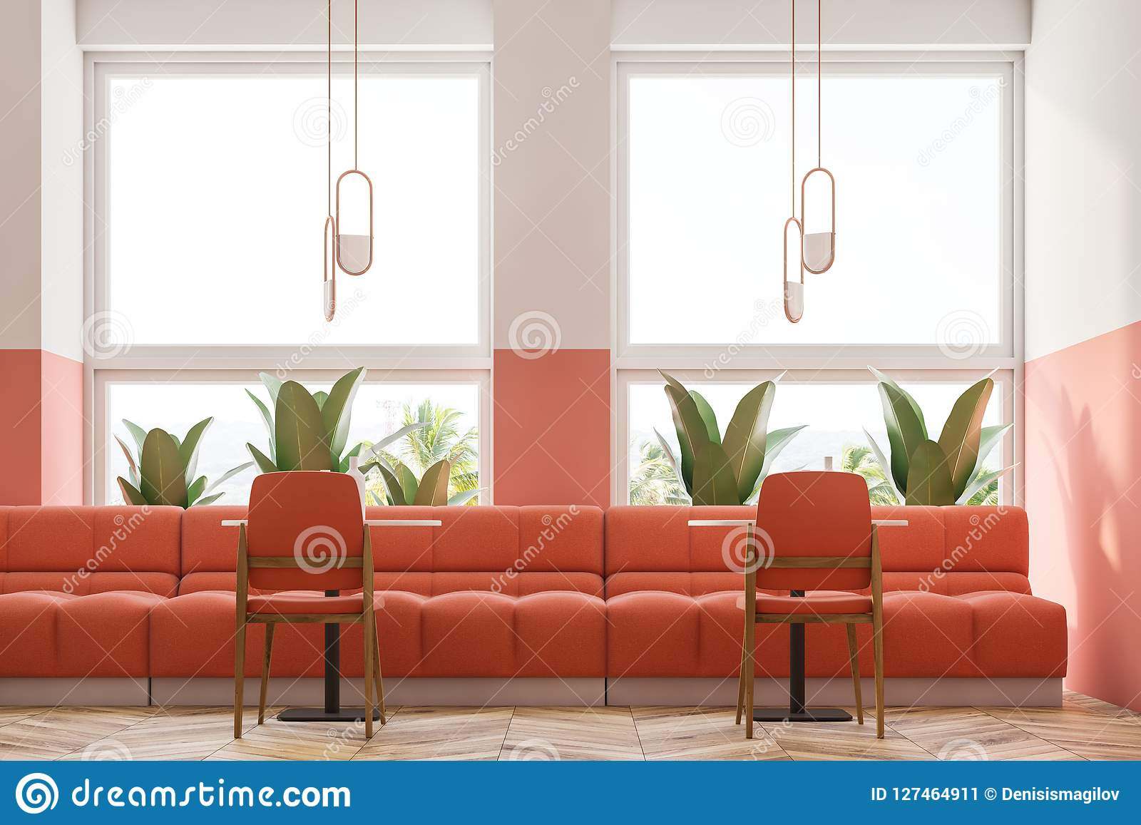 Cool Pink Retro Cafe Interior Loft And Plants Close Up Stock Dailytribune Chair Design For Home Dailytribuneorg