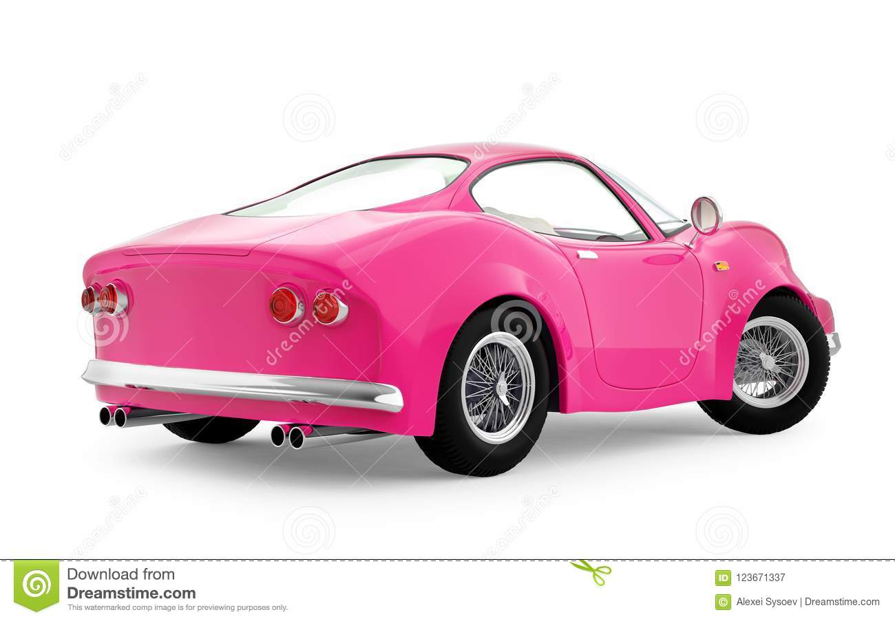 Retro Sport Car Cartoon 3d Pink Back Stock Illustration