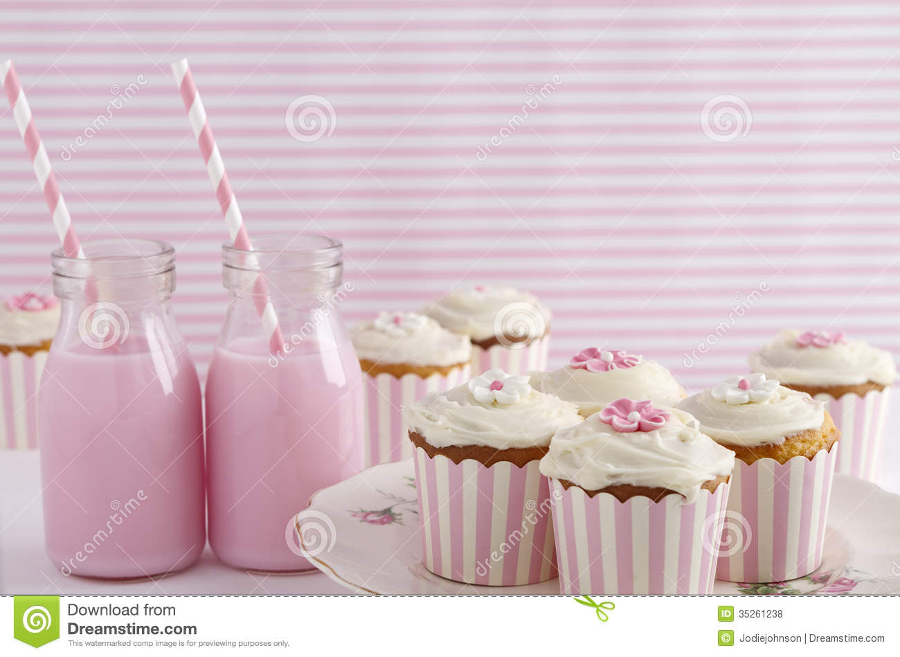 Pink Retro Theme Dessert Table Birthday Party Royalty Free