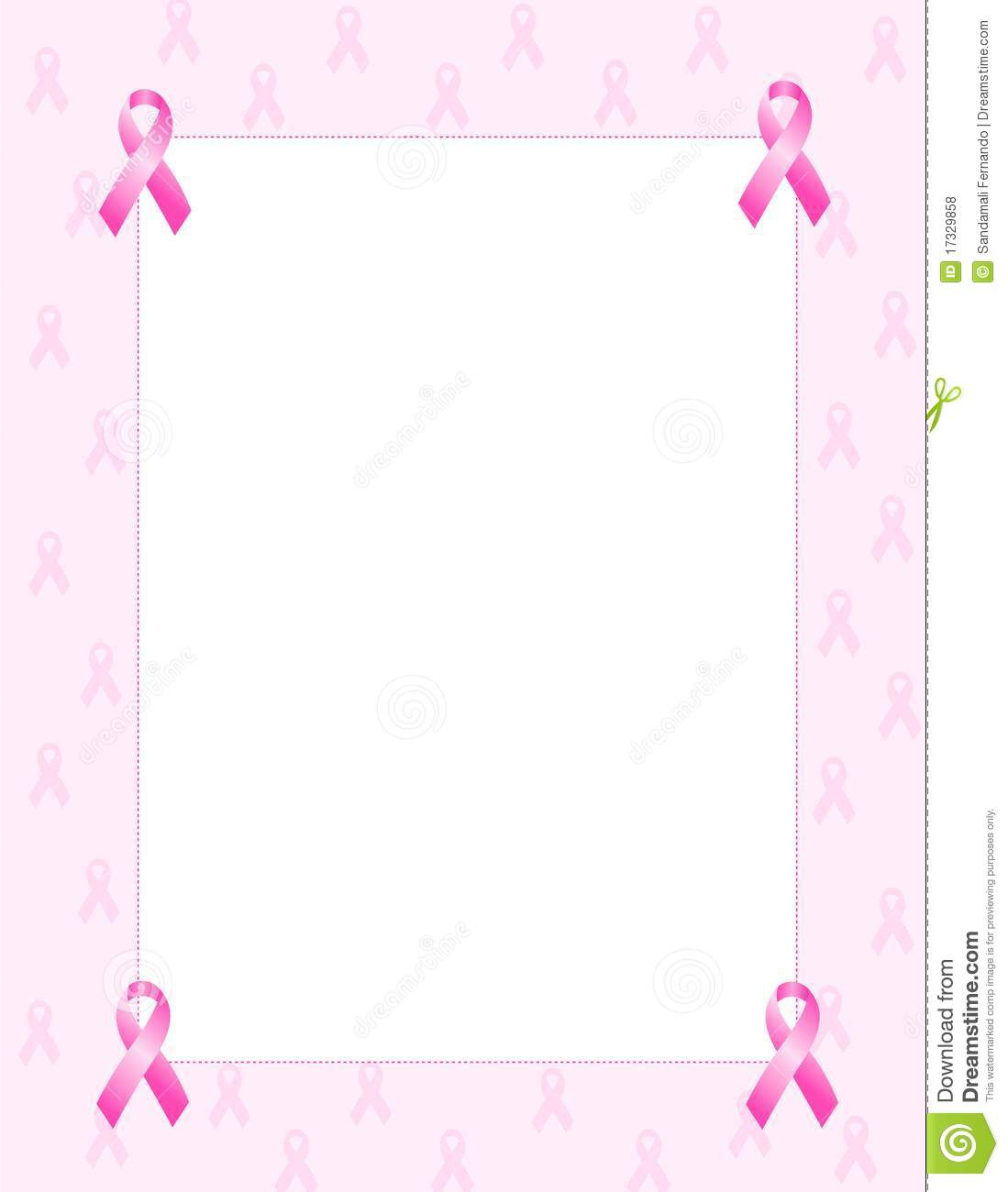 Breast cancer awareness ribbons background / border. cute pink ribbons ...