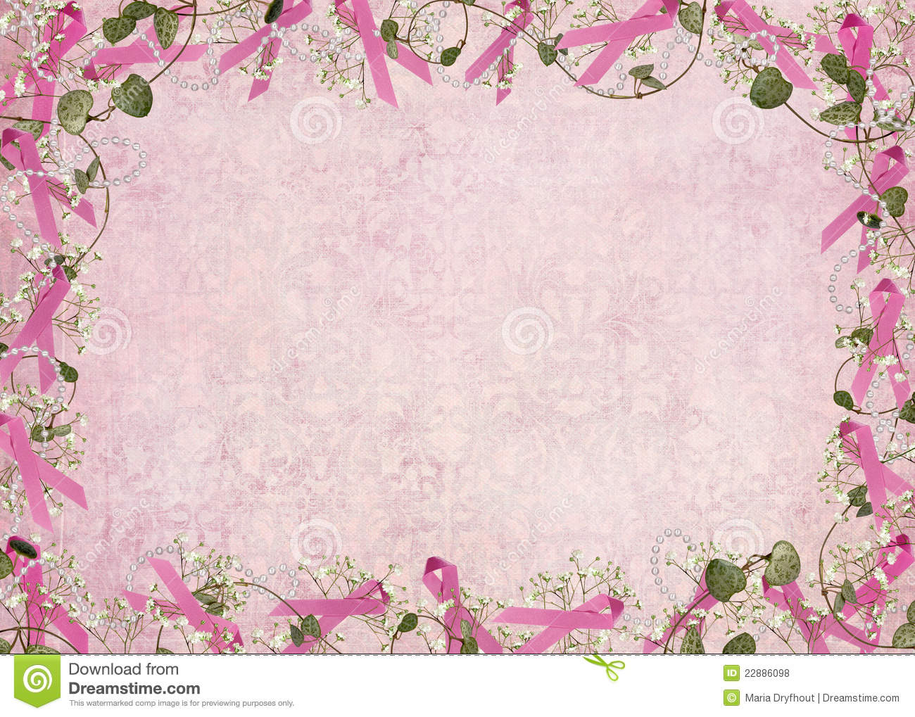 Breast cancer awareness ribbon border with ivy and pearls on damask ...