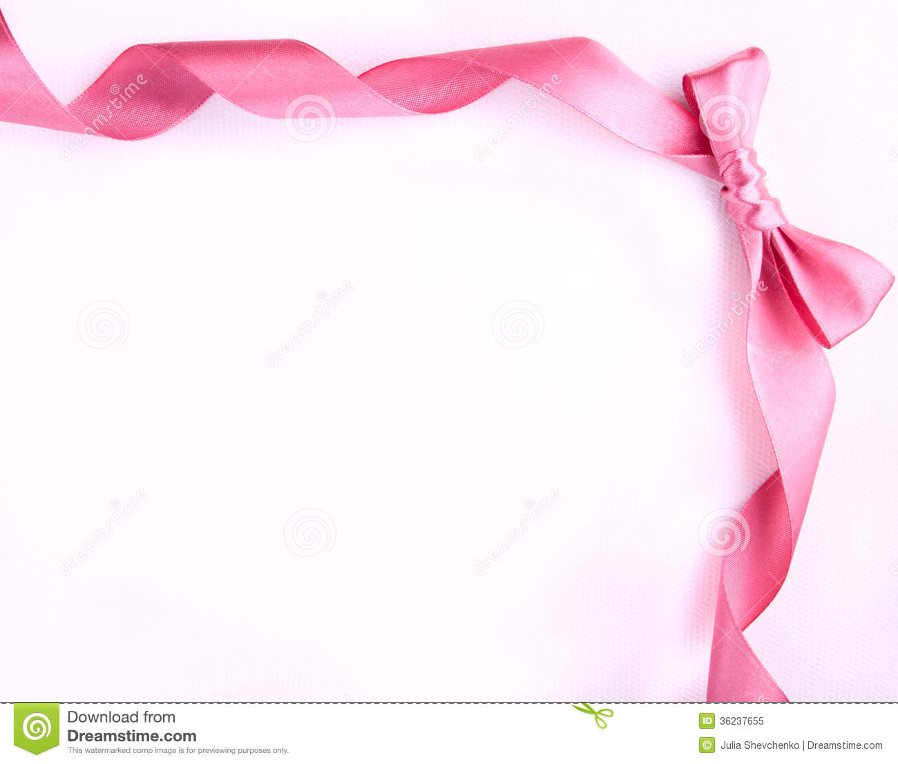 Pink Ribbon With Bow On The White Background Stock Image ...