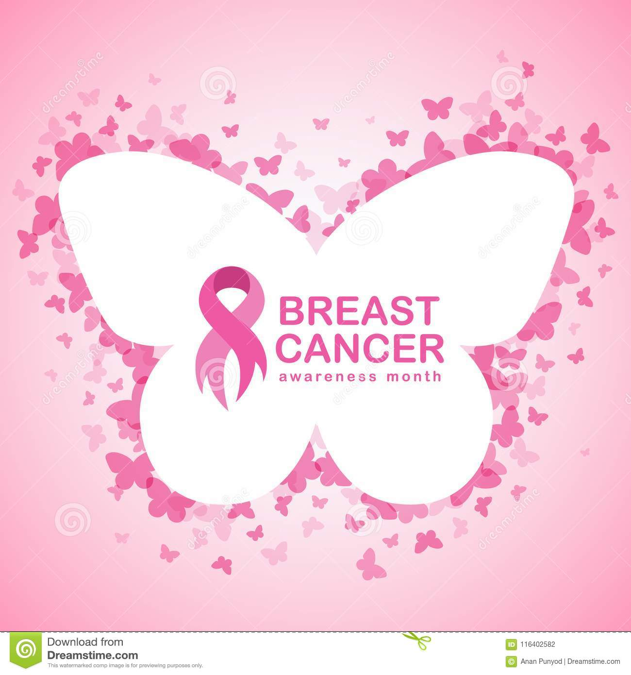 Pink Ribbon And Breast Cancer Awareness Text In Butterfly Banner And