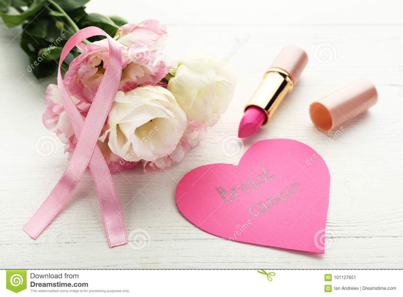 Pink Ribbon With Flowers Pomade Stock Image Image Of Idea