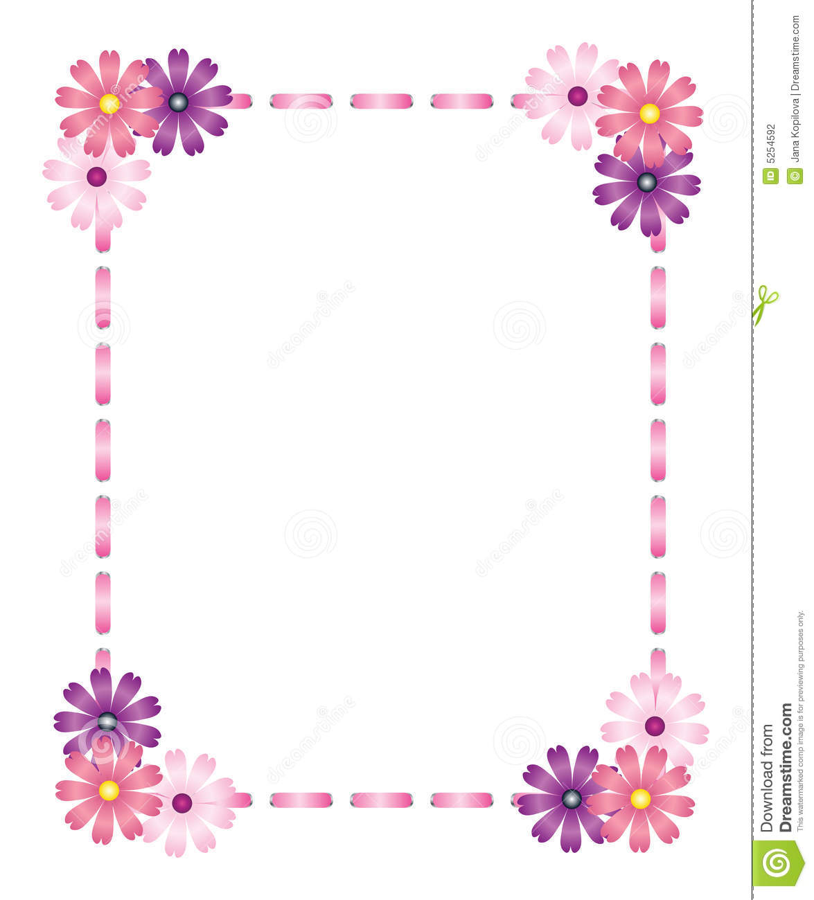 Pink Ribbon Frame With Flowers Stock Vector Illustration