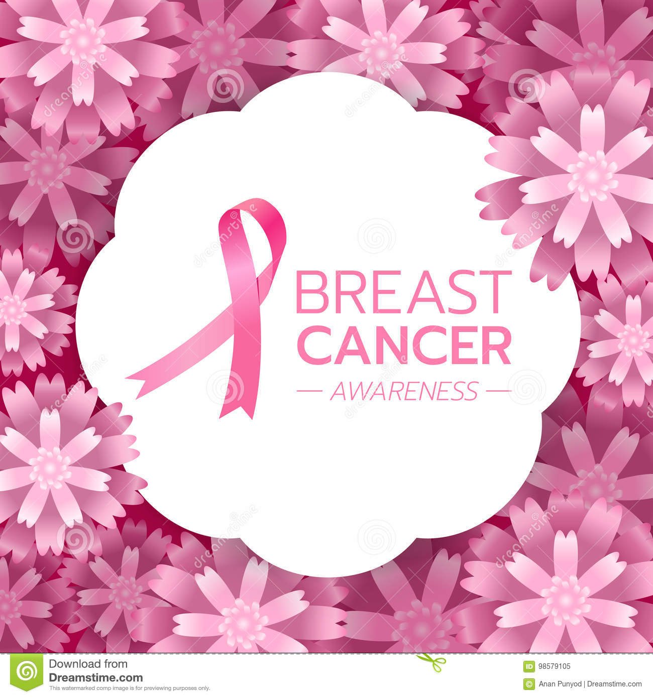 Pink ribbon sign and Breast Cancer AWARENESS text on white circle banner and pink abstract flower background vector design