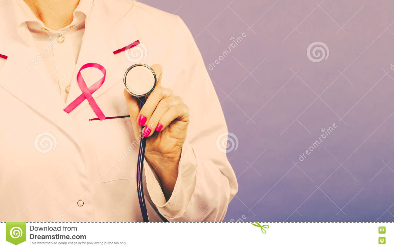 White apron health - Pink Ribbon With Stethoscope On Medical Uniform