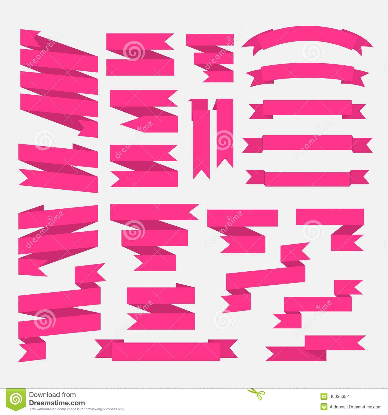Pink Ribbons Set In Flat Style Isolated On White Stock Vector