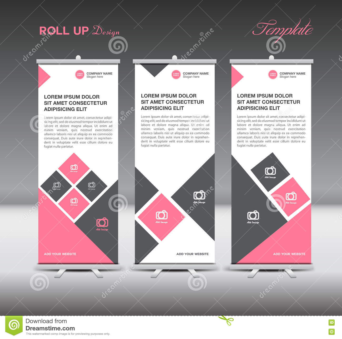 pink roll up banner template display advertisement layout vector pink roll up banner template display advertisement layout vector