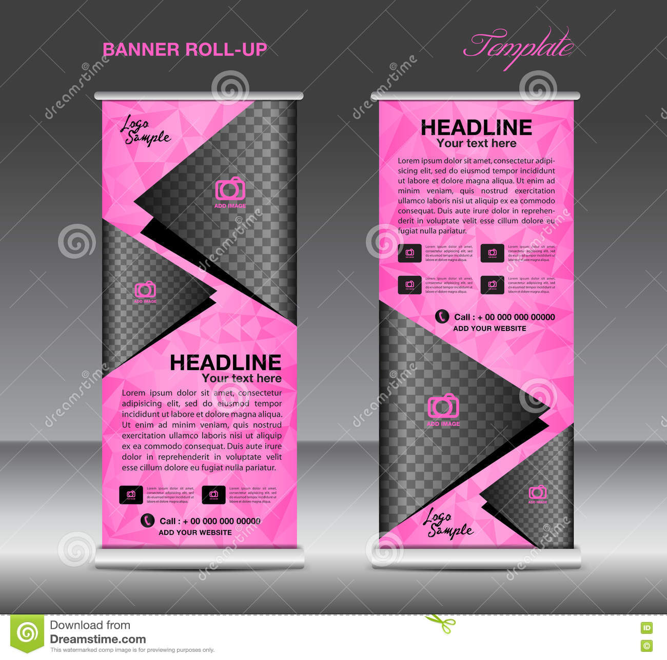 Pink Roll Up Banner Template Vector, Banner Design, Stand, Flyer ...