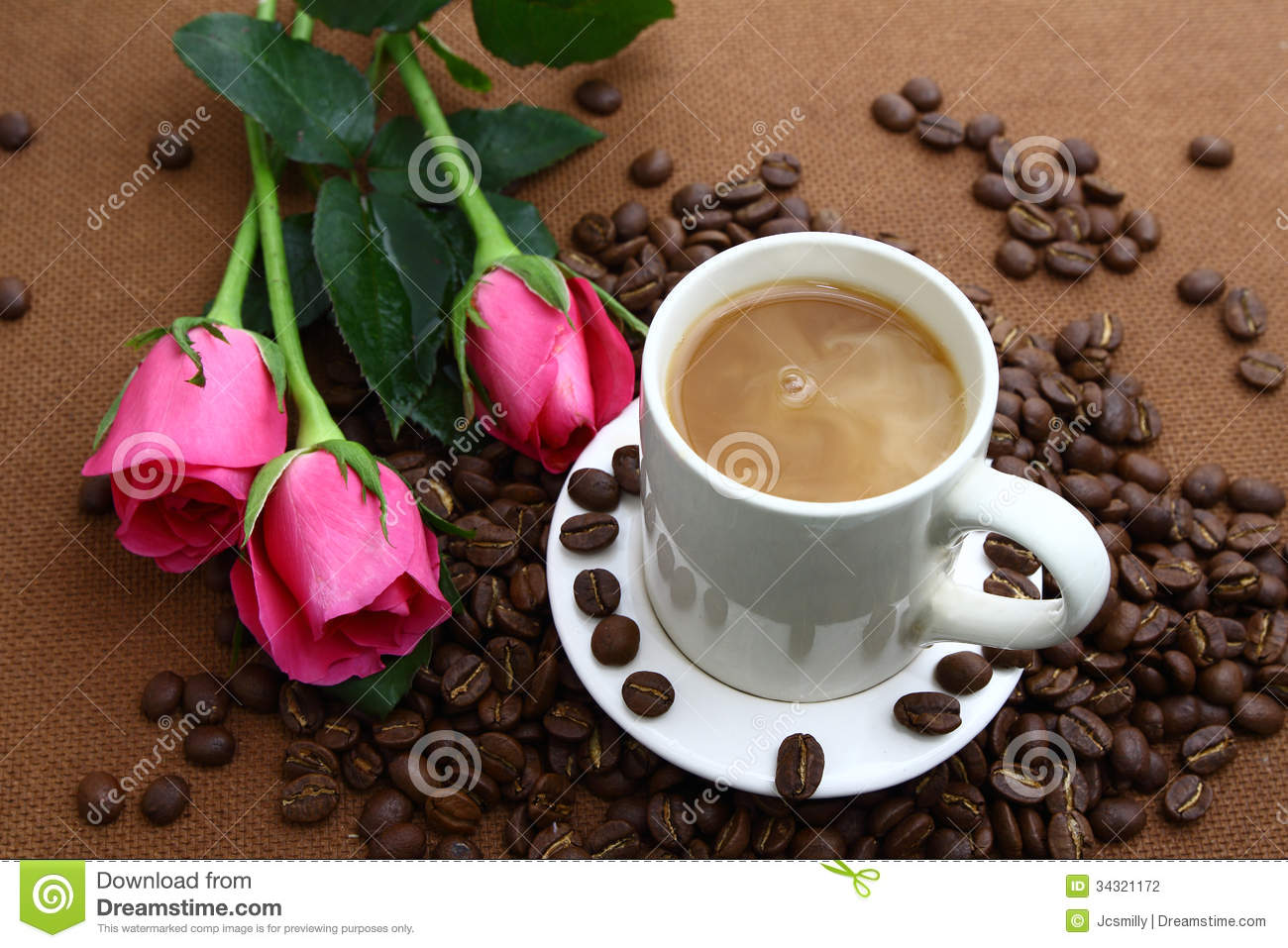 Pink rose black coffe cup and coffee beans stock photography image