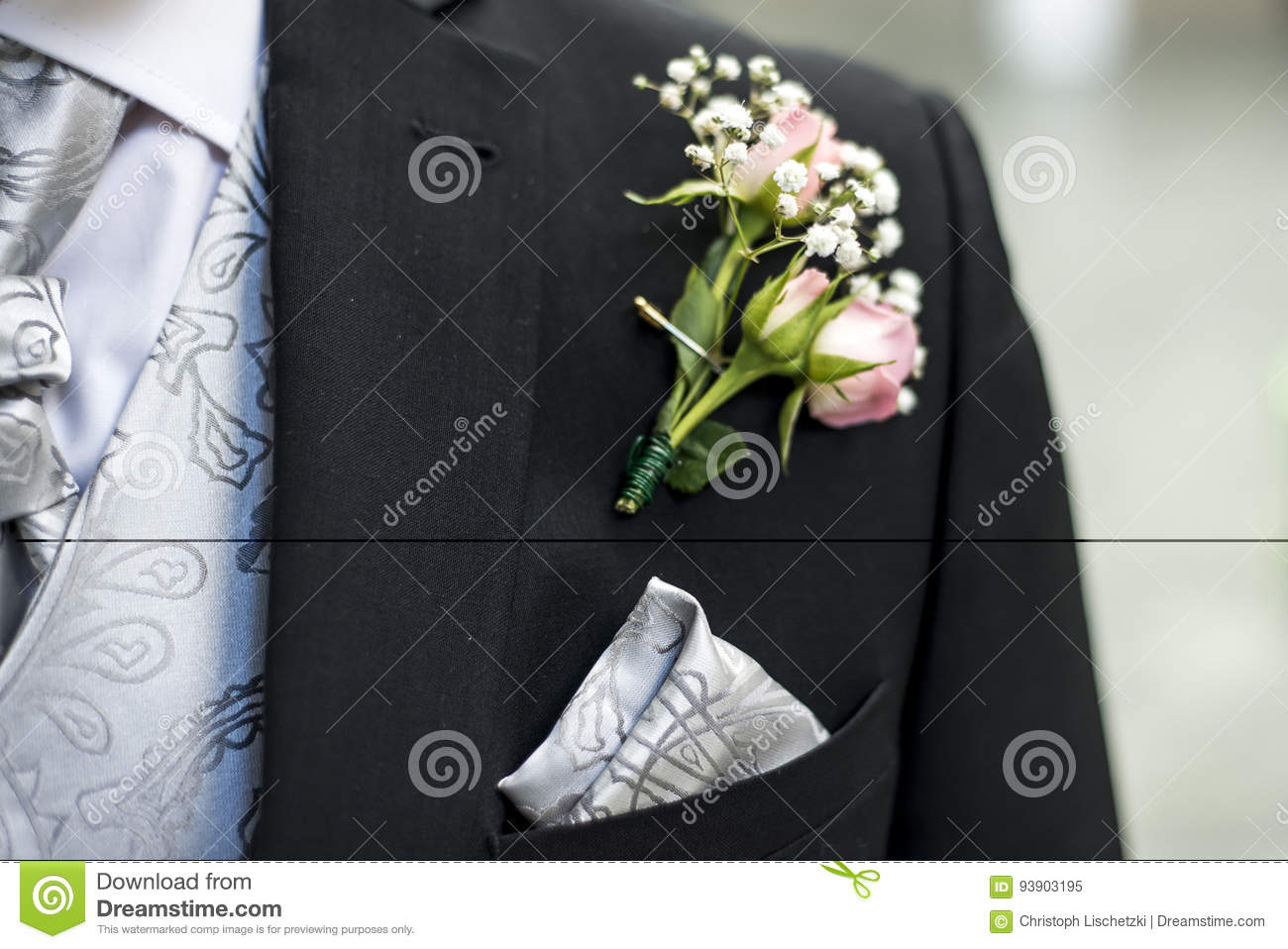 9109a2085ef7 Pink Rose Boutonniere Flower Groom Wedding Coat With Tie Shirt Stock ...