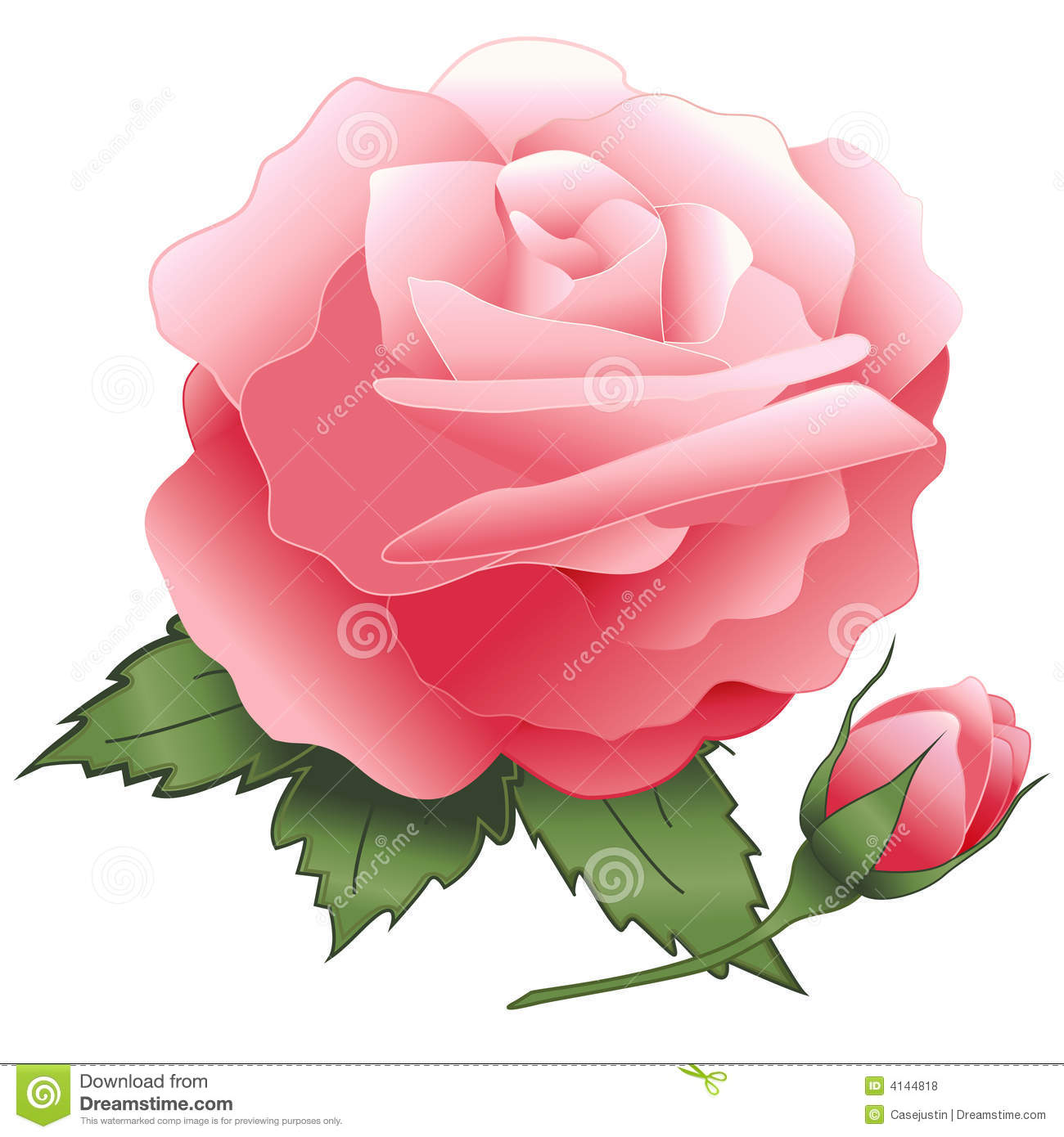 Single Pink Rose Clip Art