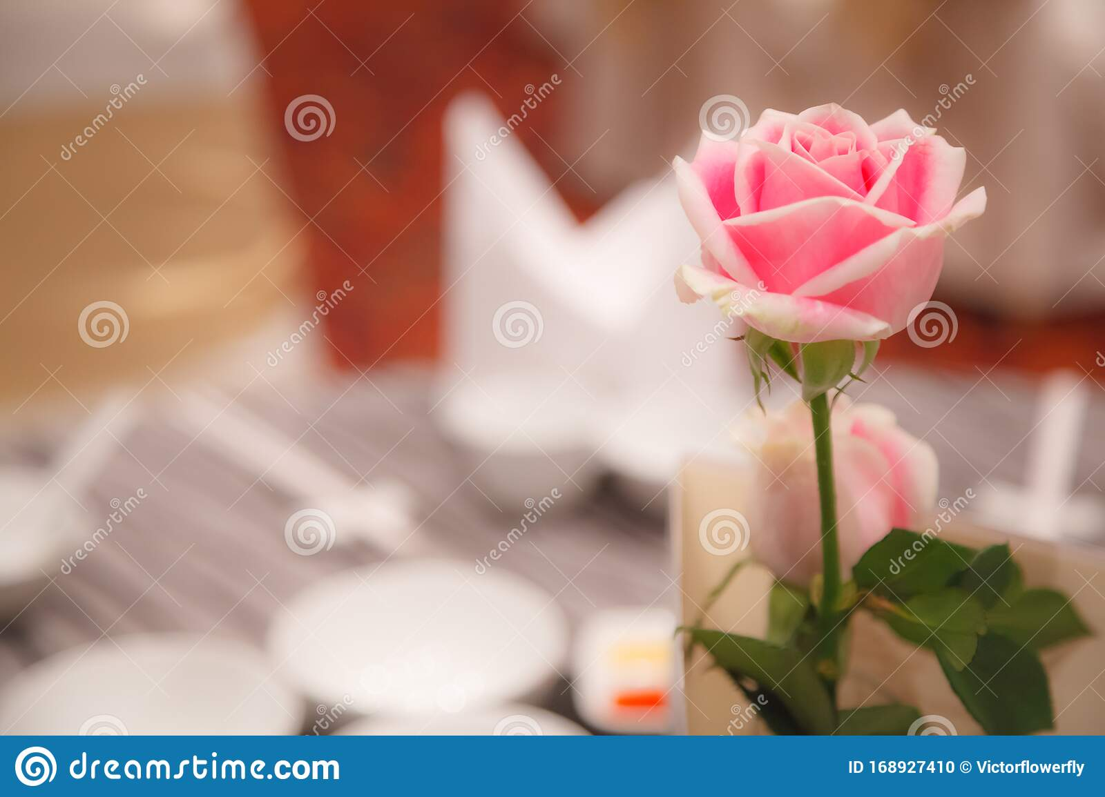 Pink Rose Decoration On Banquet Table Settings Hotel Restaurant Venue Food Catering Service Buffet Or Cocktail Banquet For Stock Photo Image Of Bouquet Catering 168927410