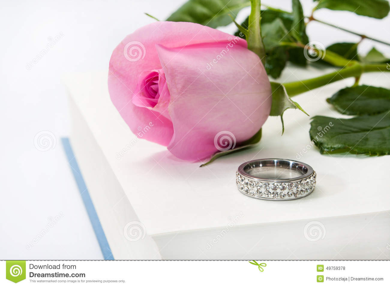 Pink Rose And Engagement Ring On The Opened Book Paper Stock Photo ...