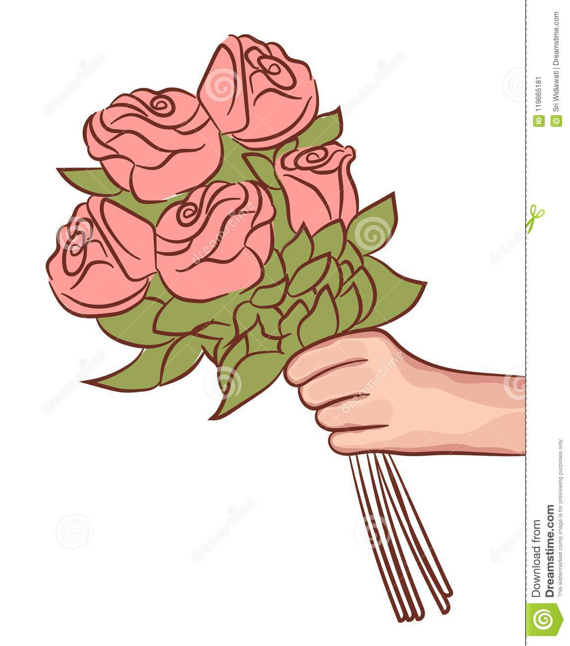 Pink Rose Flower In Female Hand Holding Bouquet On White Background