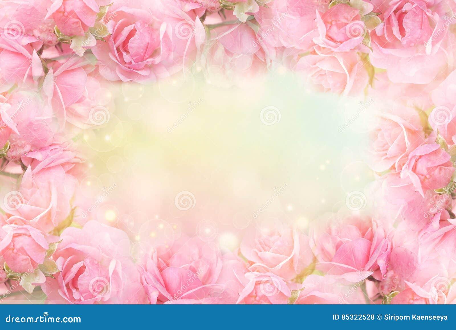 Pink Rose Flower Frame On Soft Bokeh Vintage Background For Valentine