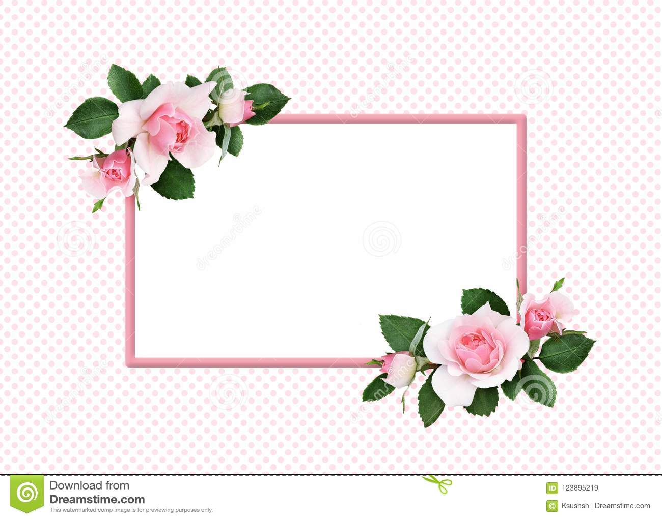 Pink rose flowers and green leaves in a floral corner arrangement and a frame