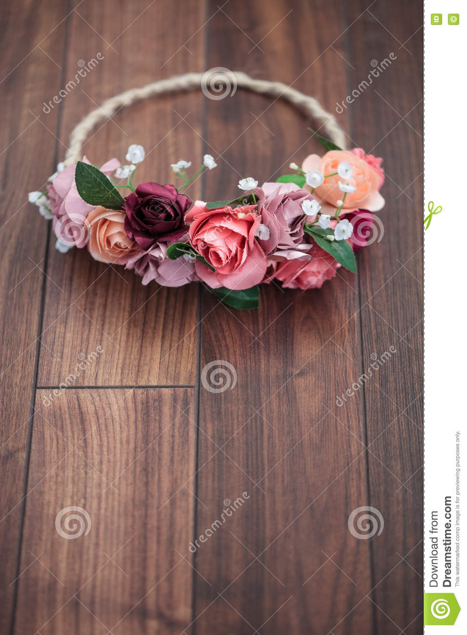 Pink Rose Flowers Wraith On Wooden Background Stock Photo Image Of