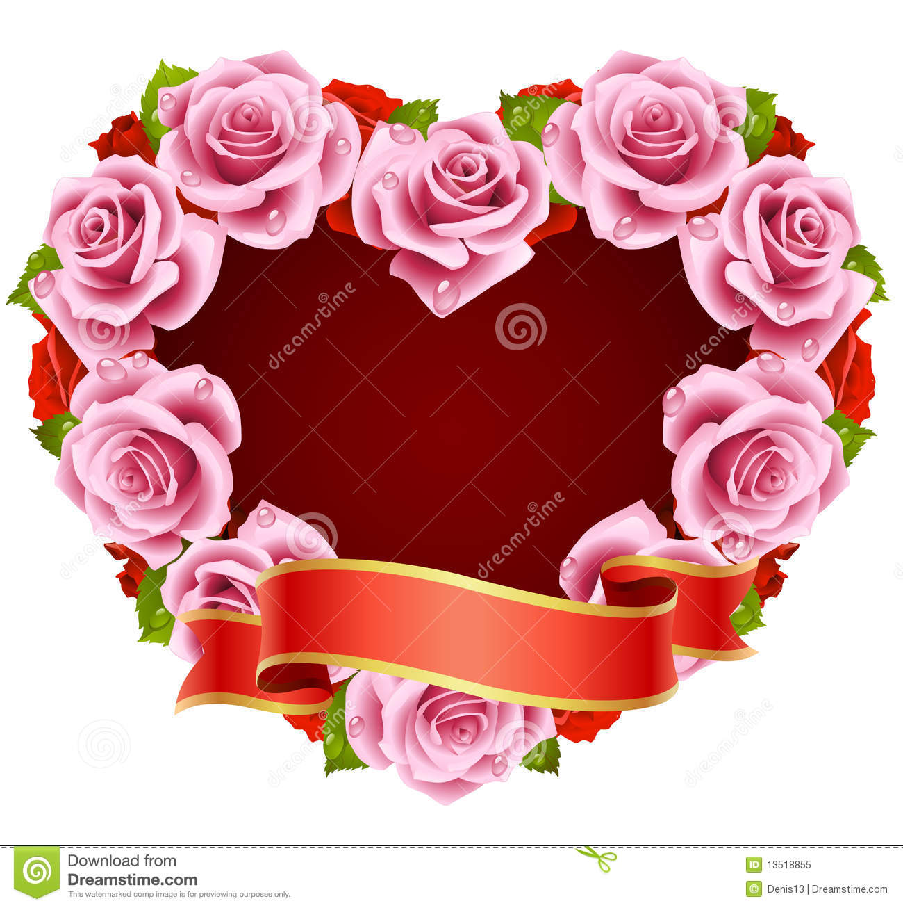 Pink Rose Frame in the shape Pink Roses And Hearts