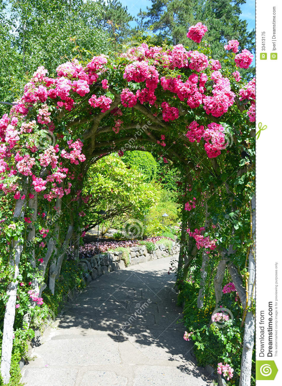 Pink Rose Garden Archway Royalty Free Stock Photo Image 33413175