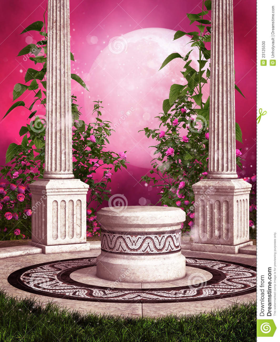 Pink Rose Garden With Columns Stock Photo Image 23125530